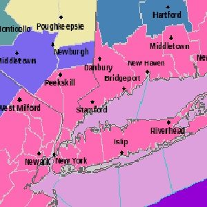 Pink areas indicate a Winter Storm Warning (National Weather Service)