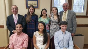 Pictured here are Matthew Alonso, Nicole Chee, Brooke DiGia, Alyssa Sanders,  Alexander Schwartz and Jenna Tisher with Principal Dr. Dean Schlanger and  Superintendent Charles Cardillo