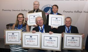 The 2015 Nationals Sailing Hall of Fame Inductees. Top to bottom, from left: Gregory Merrick, who accepted the posthumous Lifetime Achievement Award for his father Sam Merrick; Paul Foerster; JJ Fetter; Meade Gougeon, who accepted on behalf of his late brother Jan Gougeon as well; and Steve Colgate. (Photo by Thérèse Wagner)