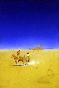 """Maxfield Parrish (1870-1966), The Desert Without Water, 1902, mixed media on paper laid on canvas, 17"""" x 11½"""", initialed lower right, """"The Great Southwest"""" by: Ray Stannard Baker, Century Magazine, 1902, © copyright 2015 National Museum of American Illustration, Newport, RI."""