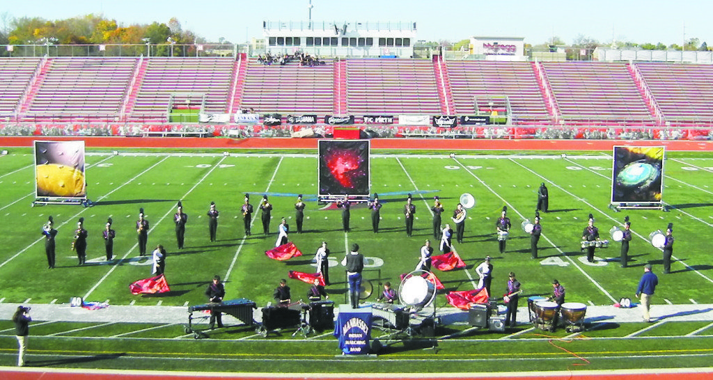 Manhasset High School Marching Band performs its Star Wars show at the USBands Group 1A national championship show in Dover, Delaware on Nov. 8, featuring drum major Jeffrey Chin conducting.