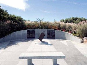 A steel beam from the World Trade Center is displayed at the Tobay Beach memorial.