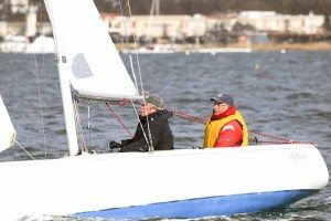 Bob Schwartz and Tom Powers, both local racers, in a downwind leg at the New Year Regatta.