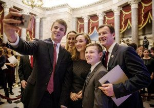 Freshman congressman from Long Island, Tom Suozzi, takes a selfie with his family in the United States Capitol building in Washington, DC, January 3, 2017. Photo by Evelyn Hockstein